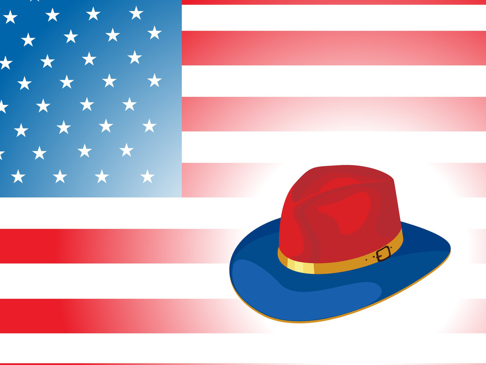 Vector Us Flag Background With Hat