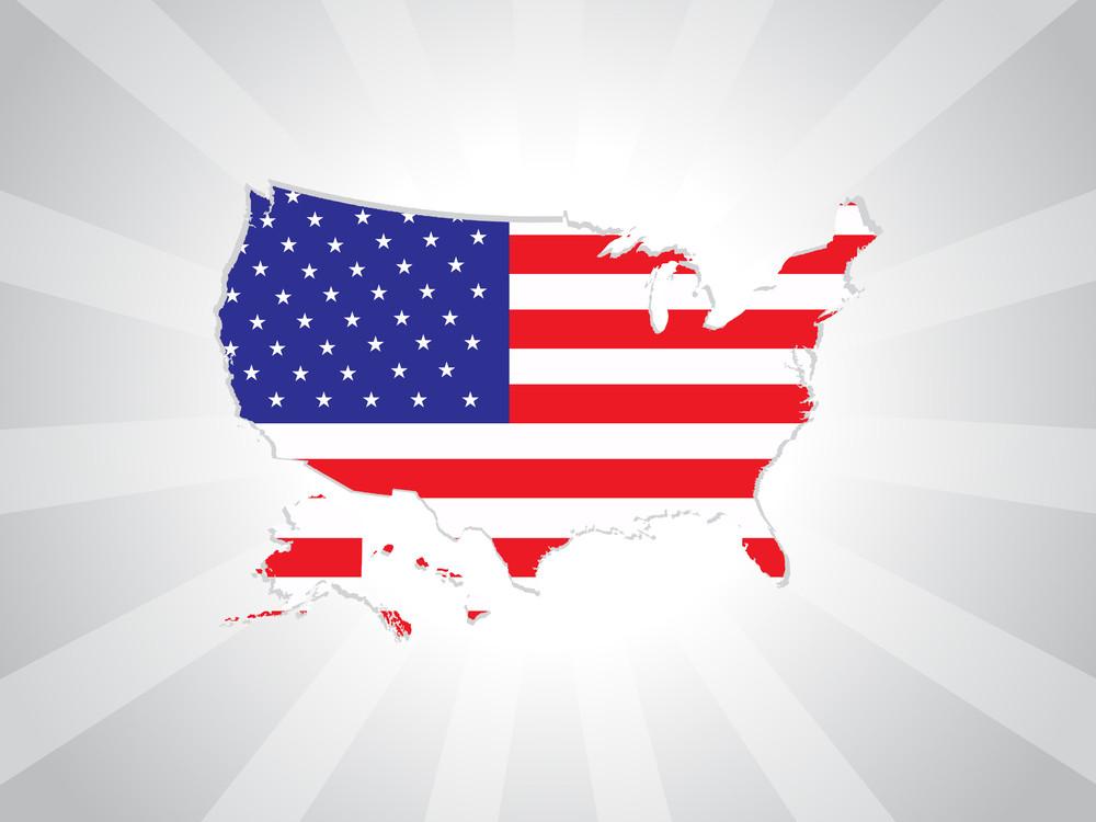 Vector Us Flag Map Illustration