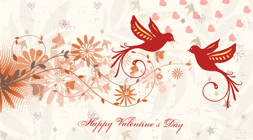 Vector Valentine's Background With Birds