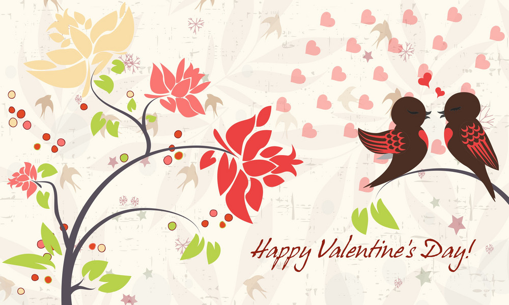 Vector Valentine's Background With Birds