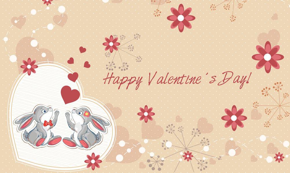 Vector Valentine's Background With Bunny