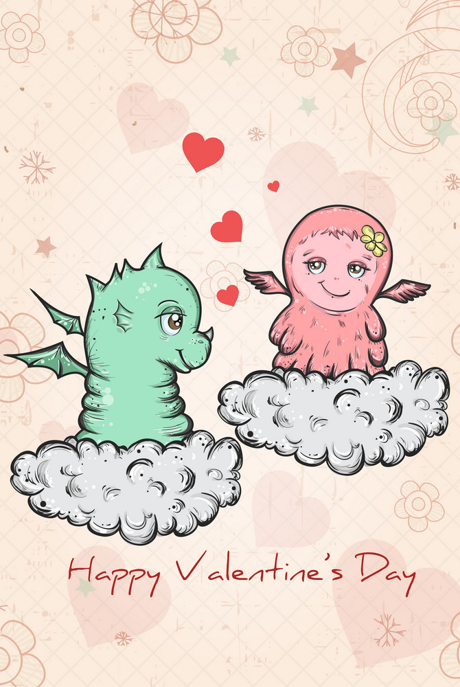 Vector Valentine's Background With Dragon