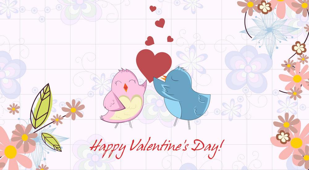Vector Valentine's Day Background With Birds