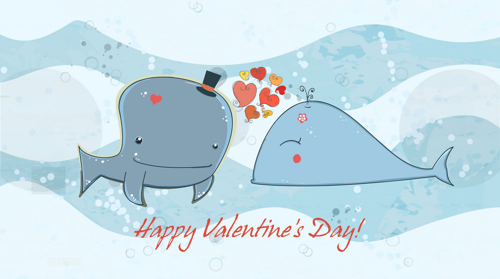 Vector Valentine's Day Background With Whales