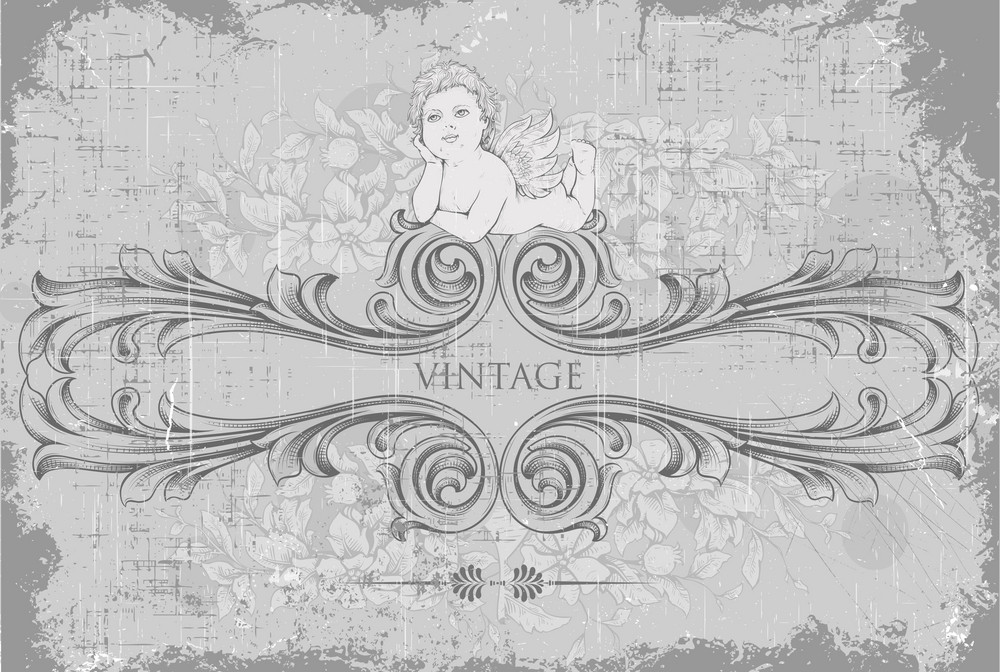 Vector Vintage Background With Angel