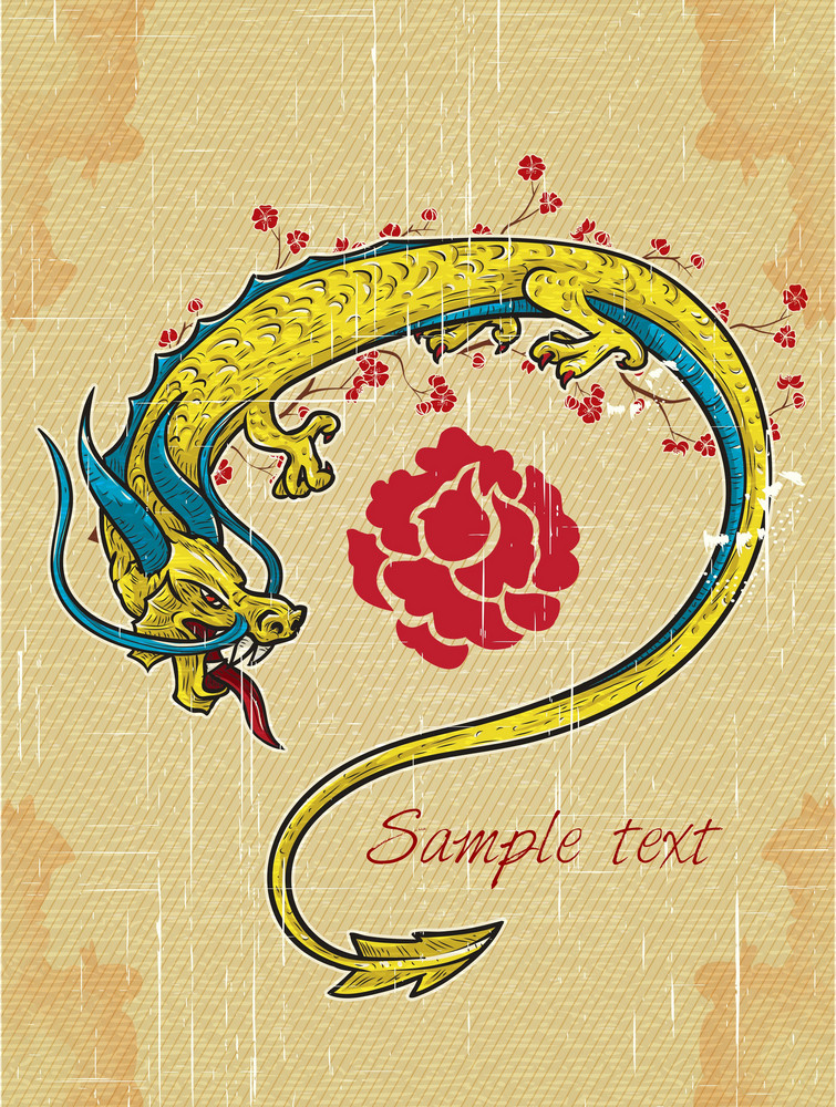 Vector Vintage Background With Dragon