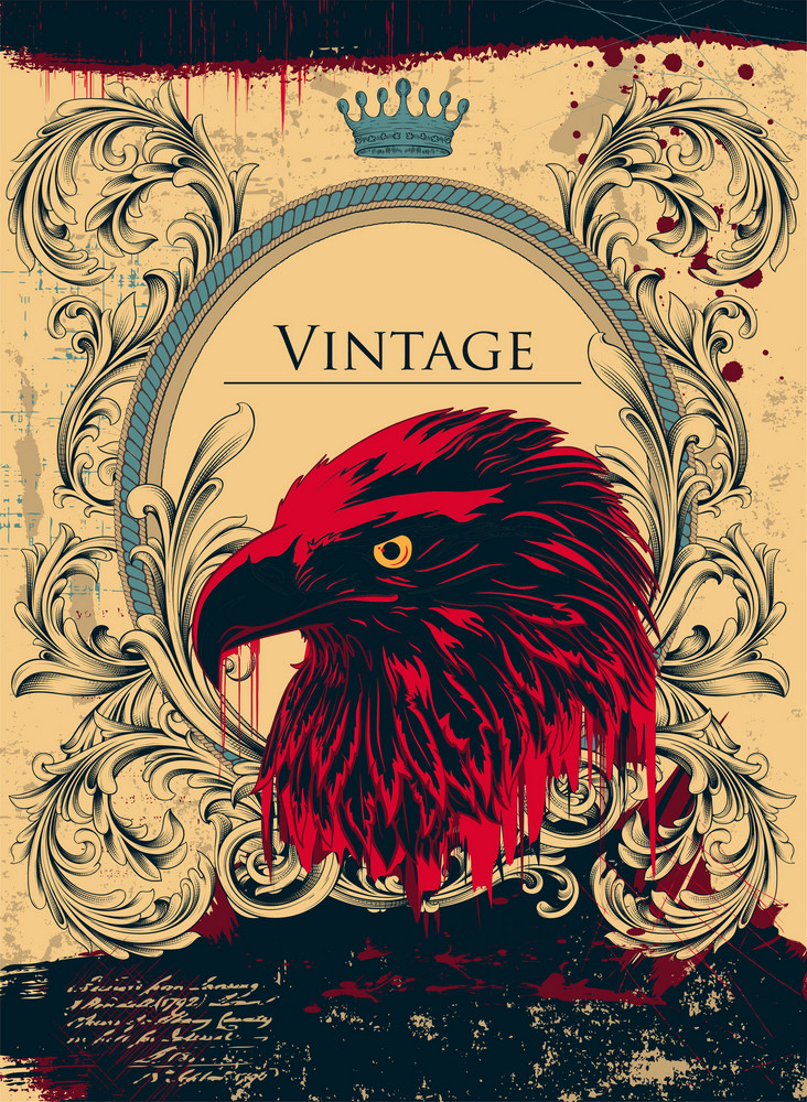 Vector Vintage Background With Eagle Head