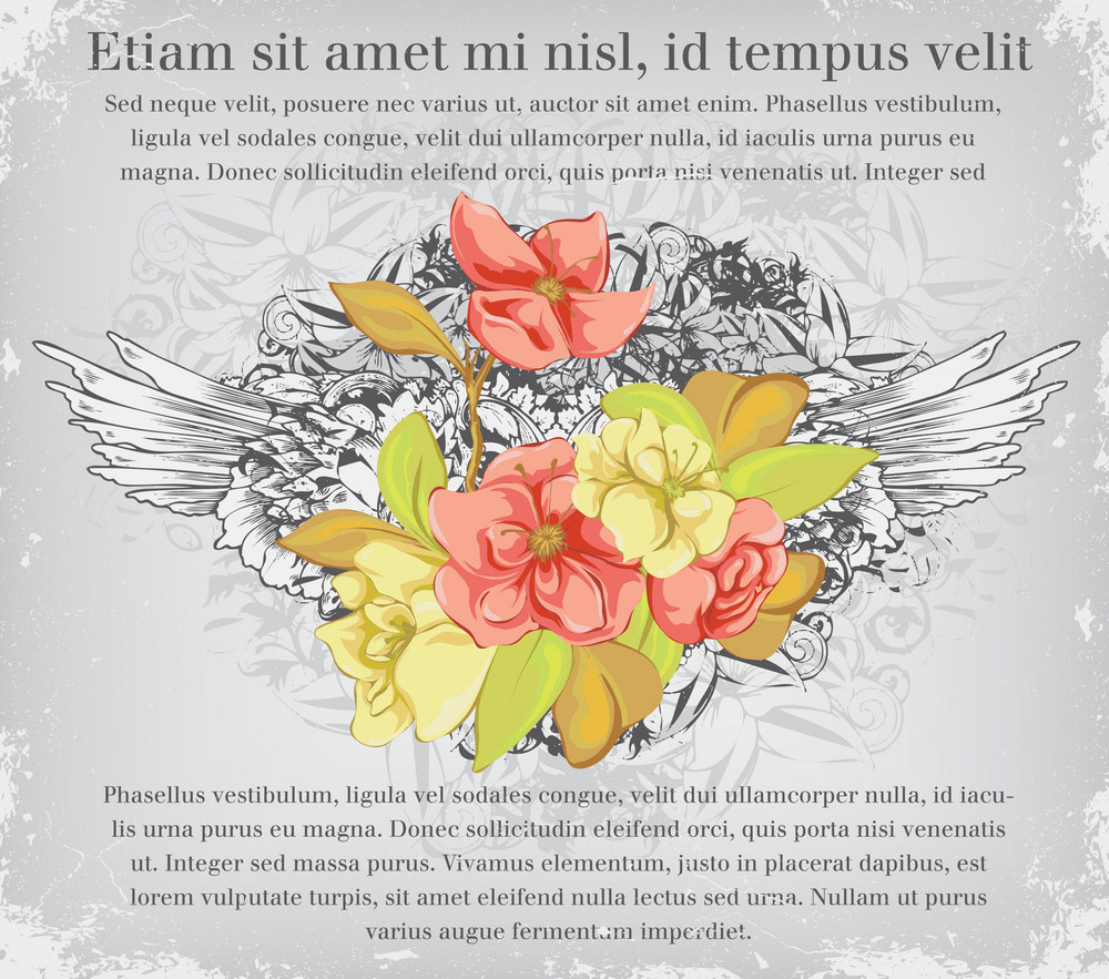 Vector Vintage Background With Floral And Wings