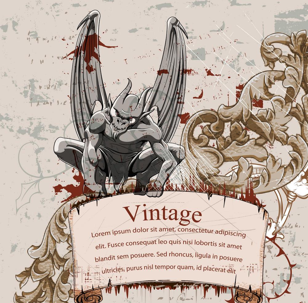 Vector Vintage Background With Gargoyle
