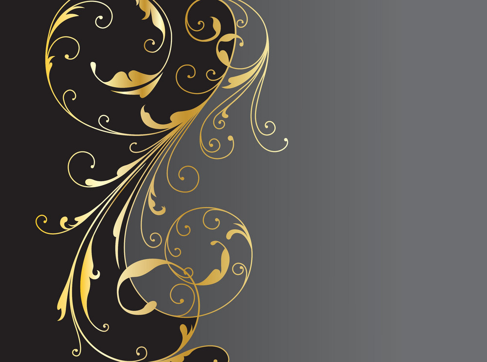 Vector Vintage Background With Gold Floral