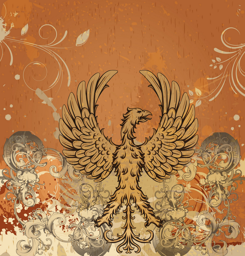 Vector Vintage Background With Griffin