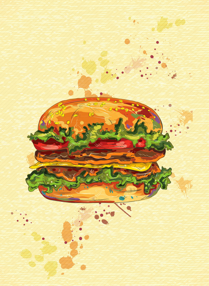 Vector Vintage Background With Hamburger