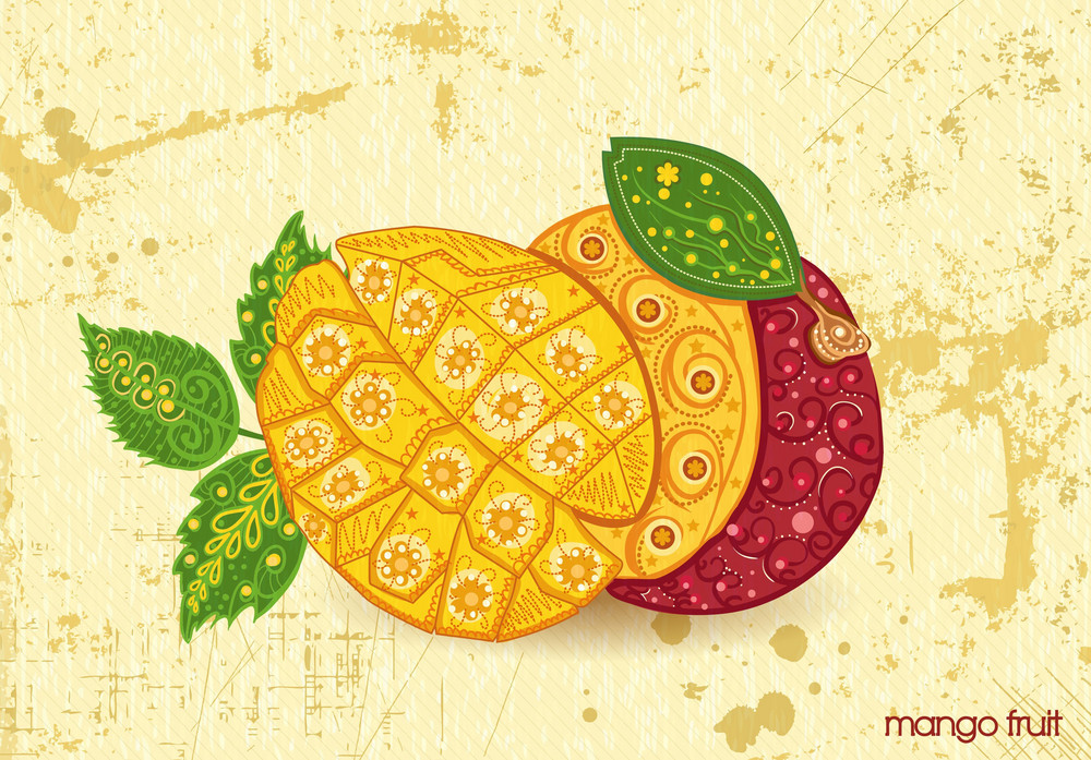 Vector Vintage Background With Mango