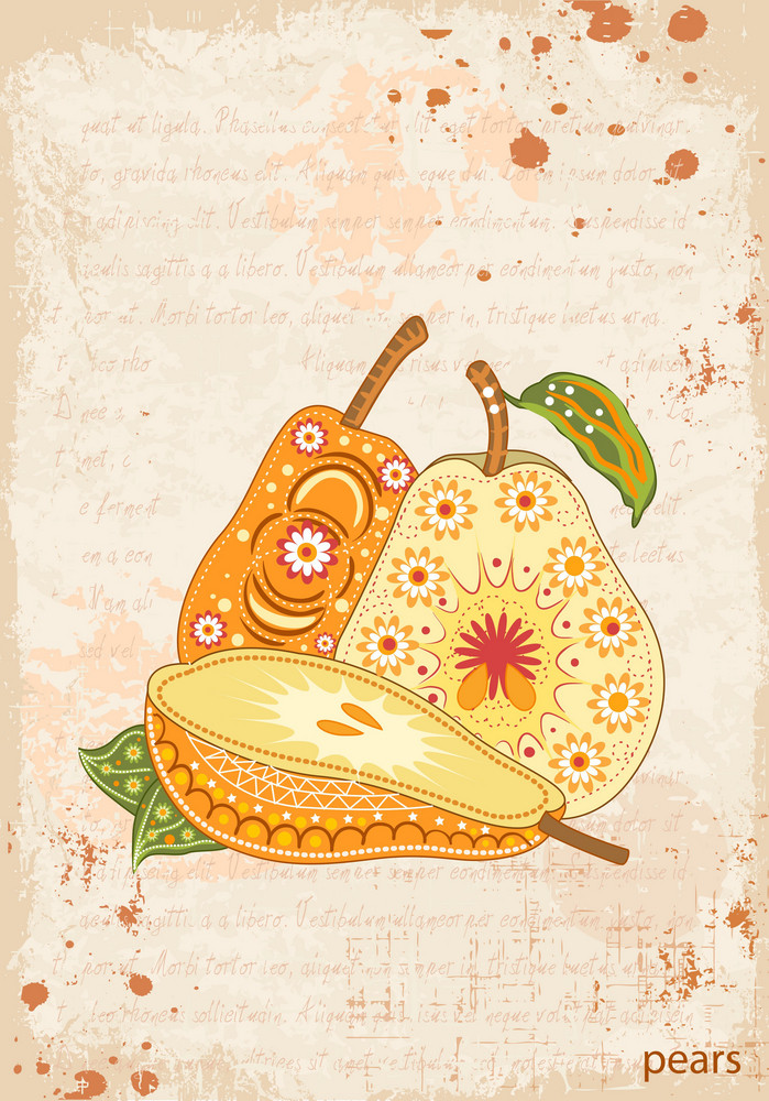 Vector Vintage Background With Pears