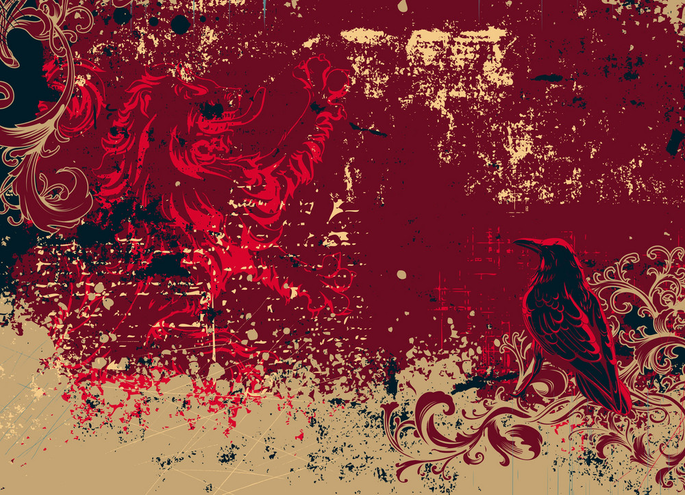 Vector Vintage Background With Raven