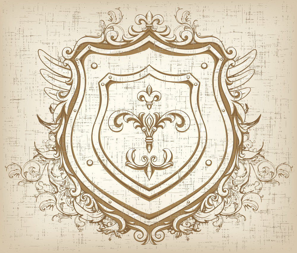 Vector Vintage Emblem With Shield