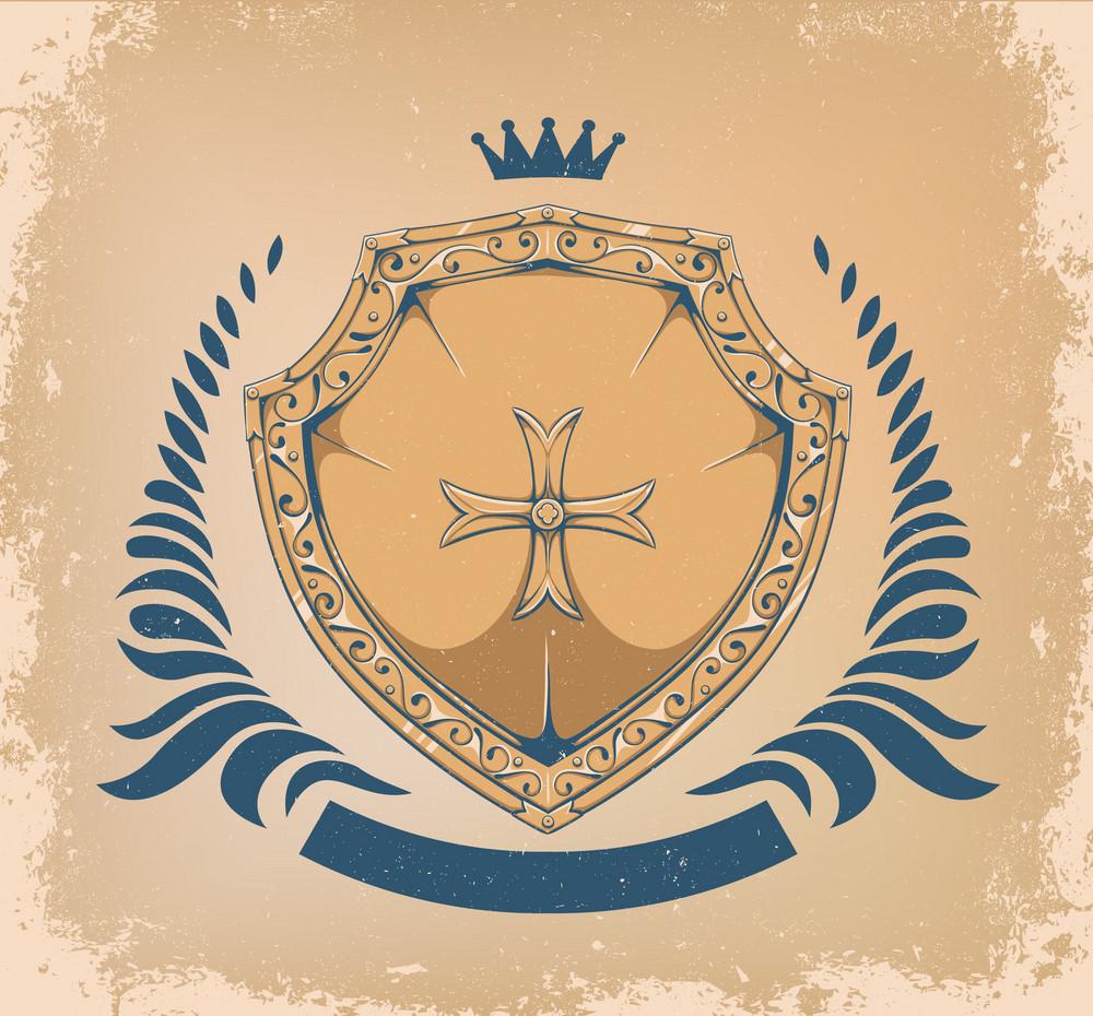Vector Vintage Emblem With Shield