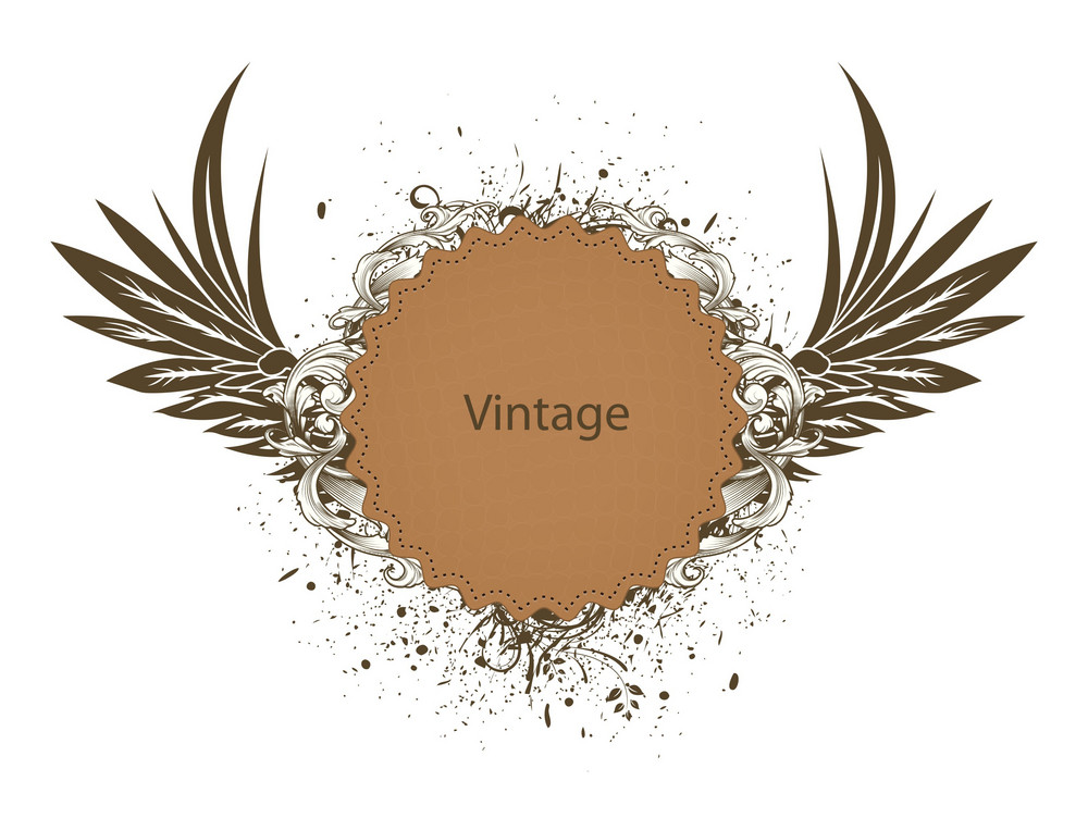 Vector Vintage Emblem With Wings