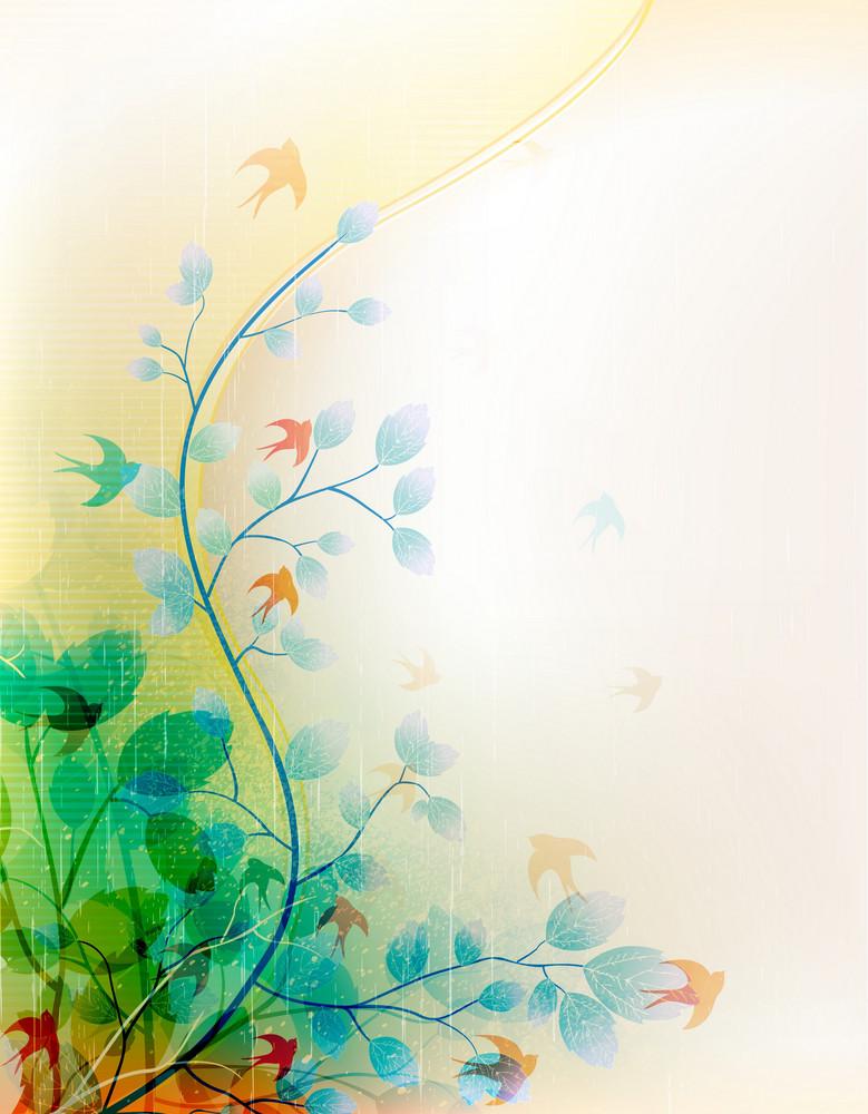 Vector Vintage Floral Background With Flock Of Birds