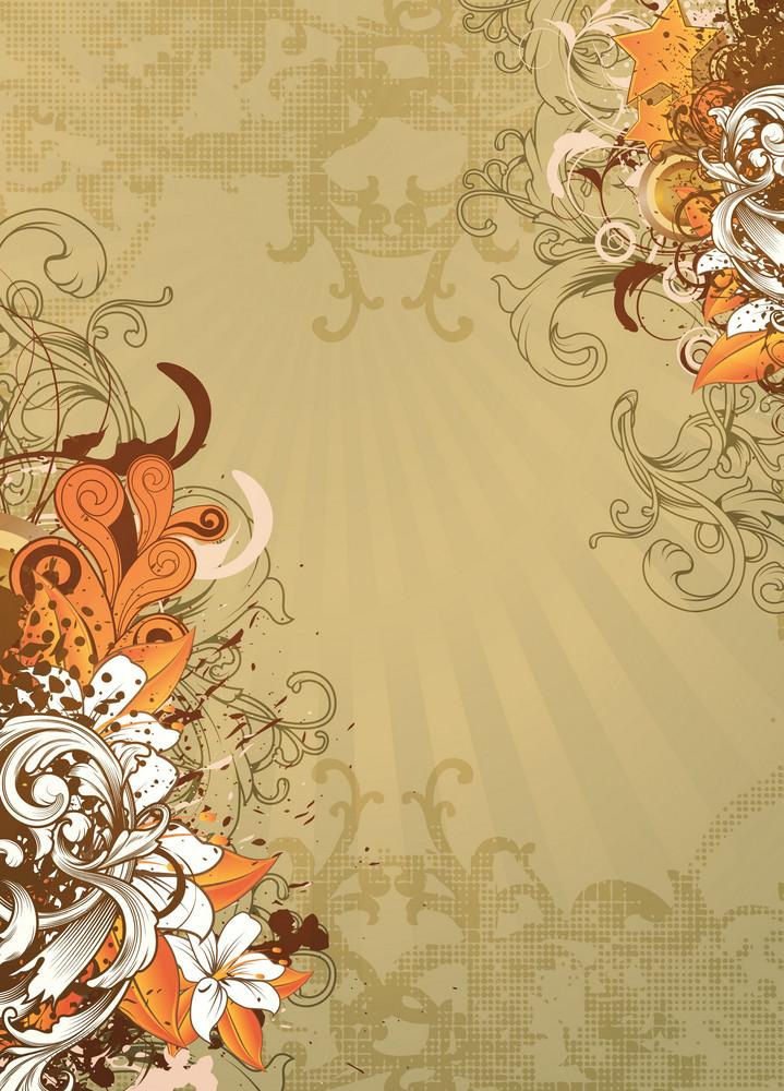 Vector Vintage Floral Background With Grunge