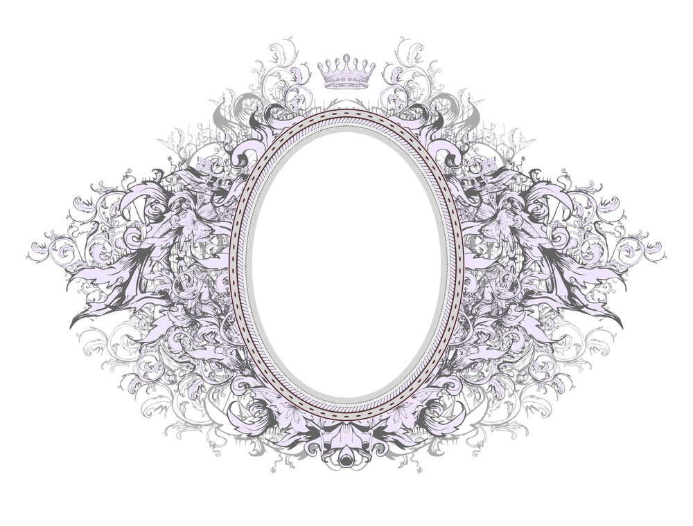 Vector Vintage Floral Frame With Crown