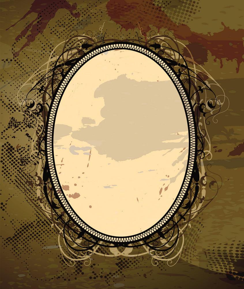 Vector Vintage Floral Frame With Grunge Background