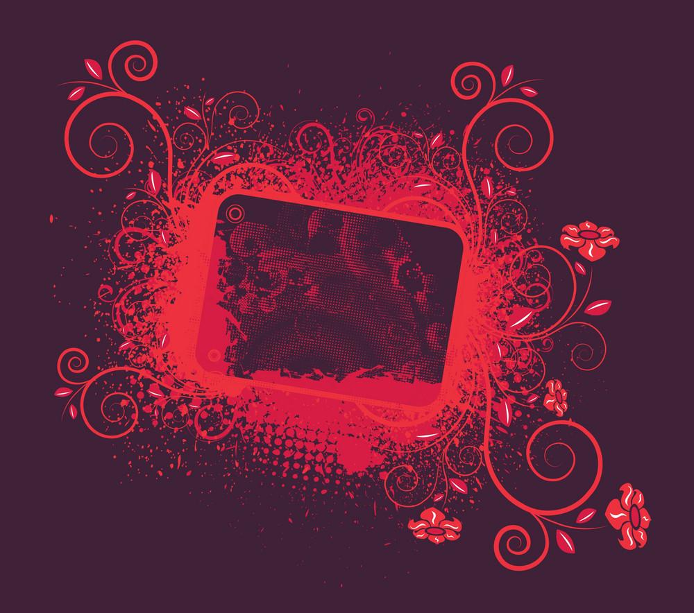 Vector Vintage Floral Frame With Grunge