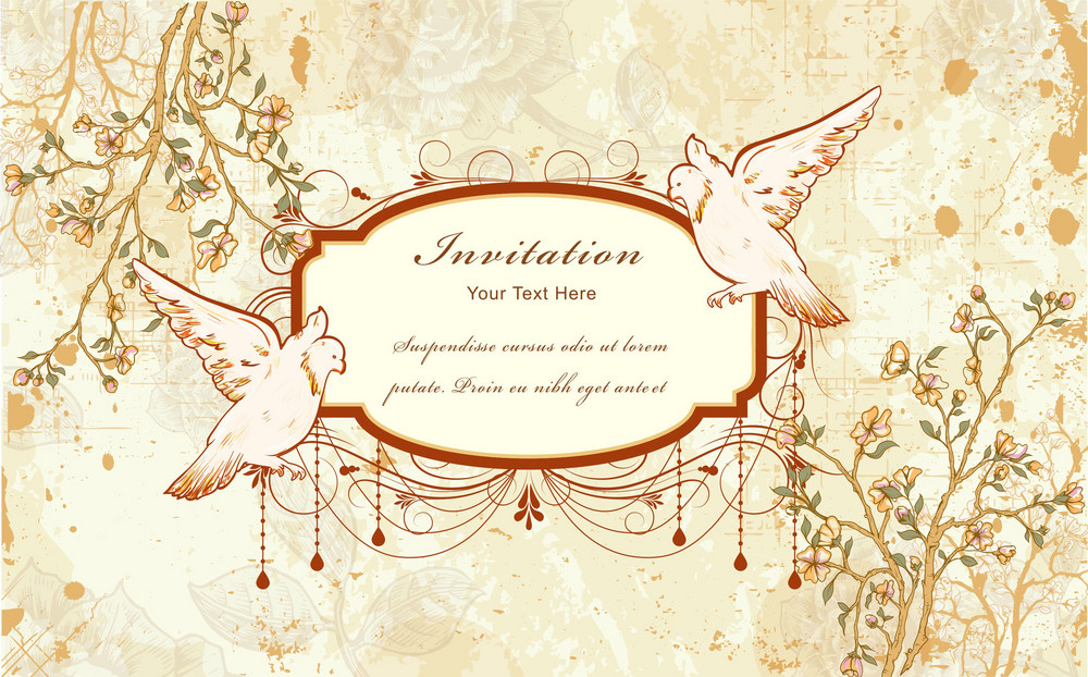 Vector Vintage Frame With Birds