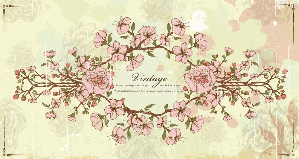 Vector Vintage Frame With Floral