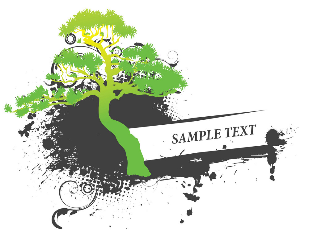 Vector Vintage Frame With Tree