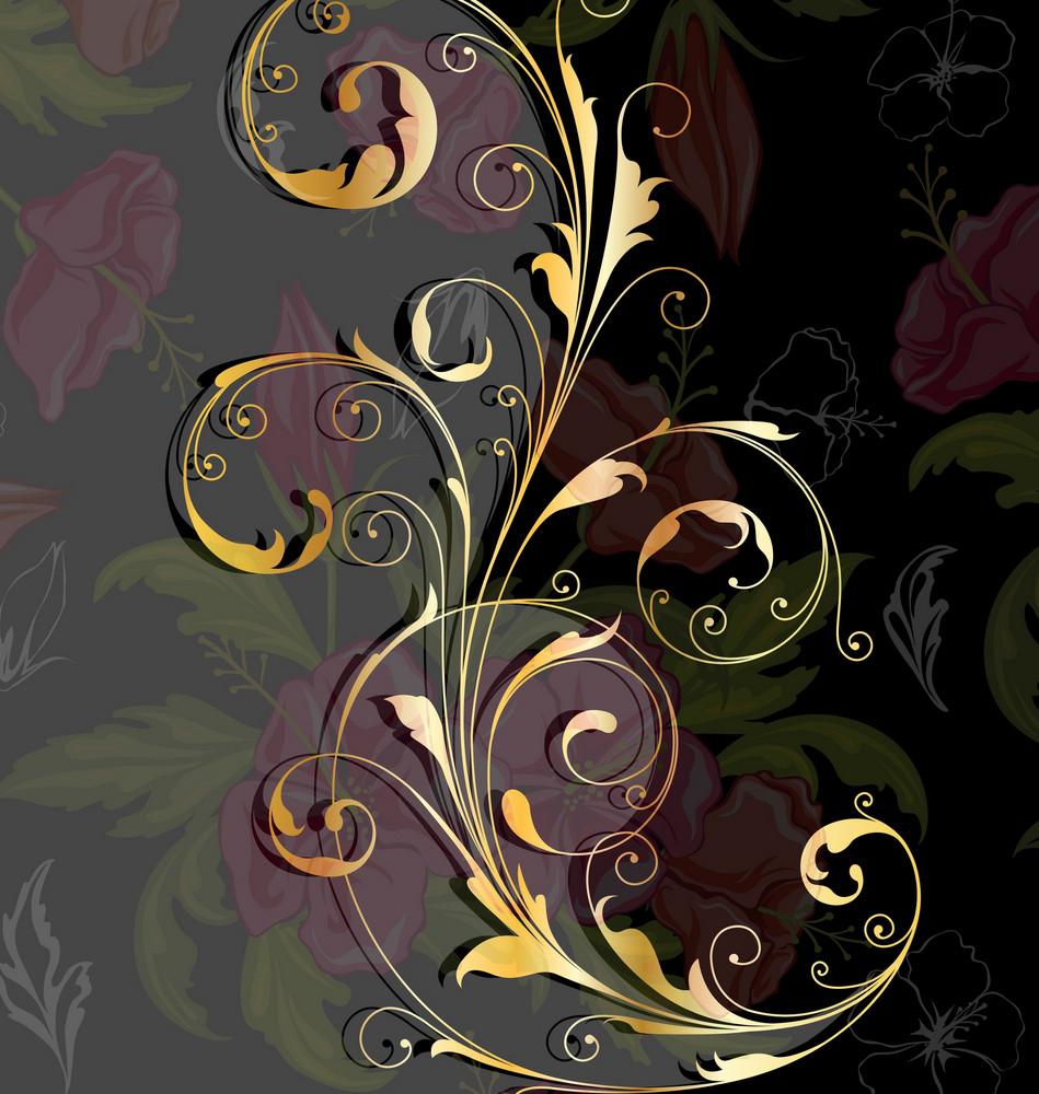 Vector Vintage Gold Floral Background