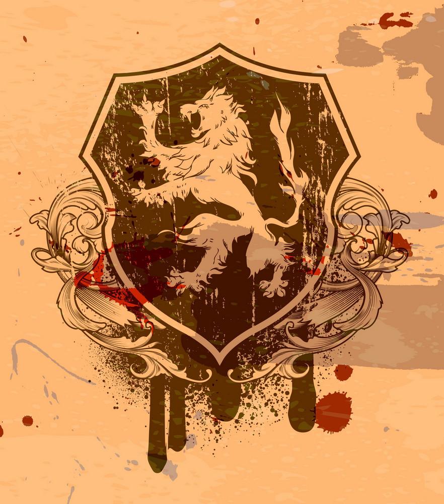 Vector Vintage Grunge Emblem With Lion