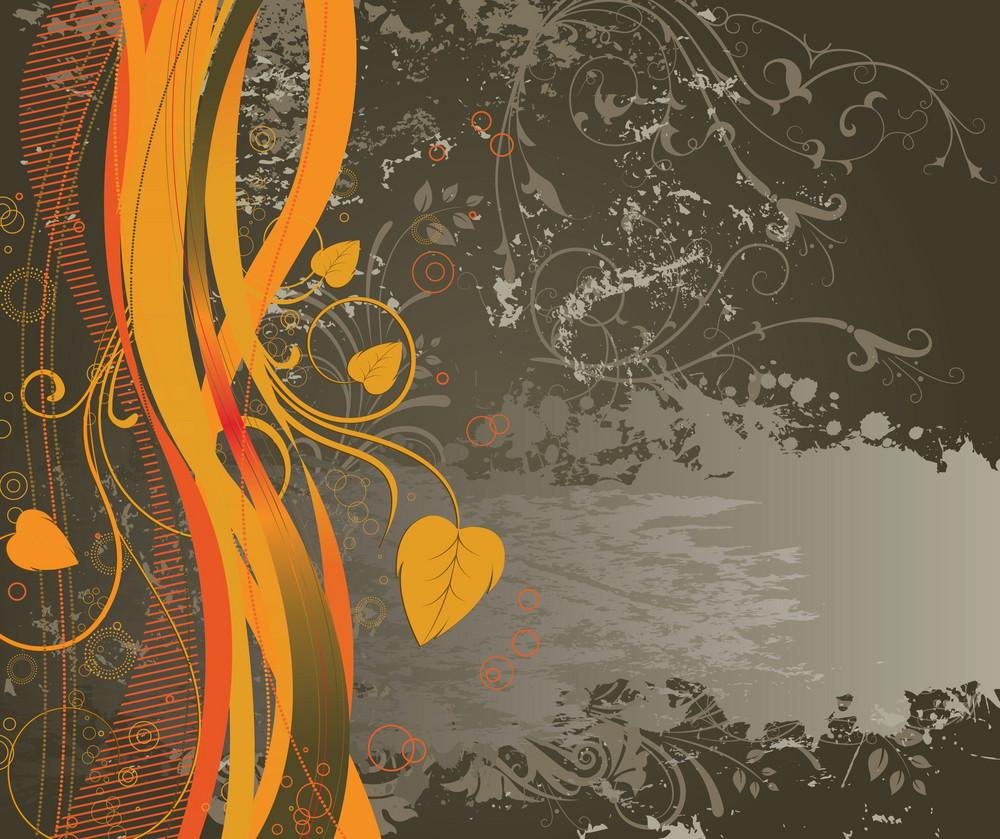 Vector Vintage Grunge Floral Background