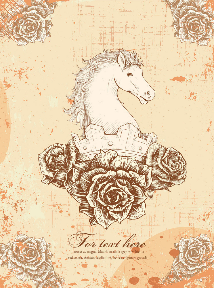 Vector Vintage Horse With Floral