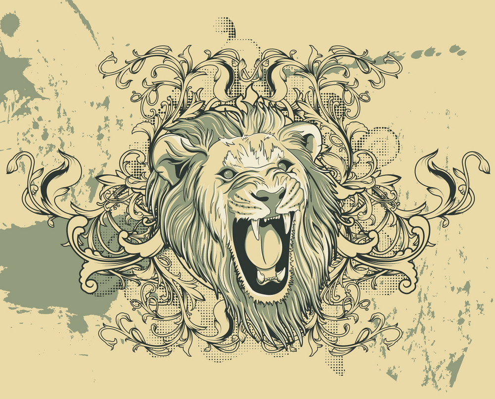 Vector Vintage Illustration With Lion