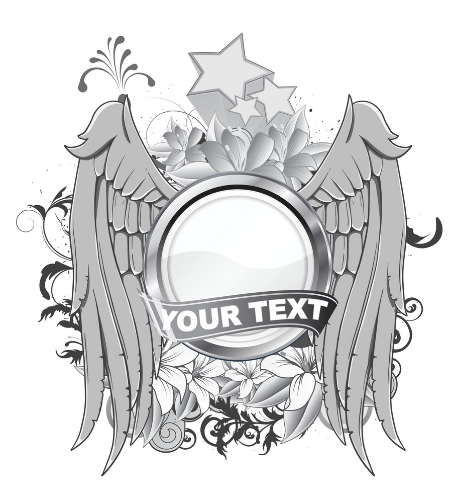 Vector Vintage Label With Wings