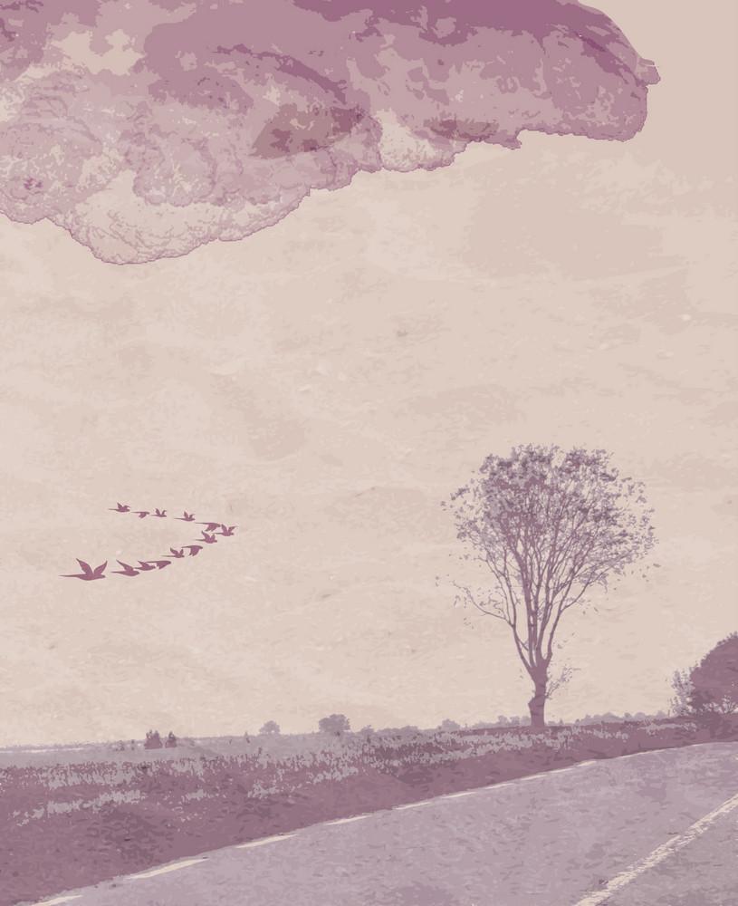 Vector Vintage Landscape With Flock Of Birds