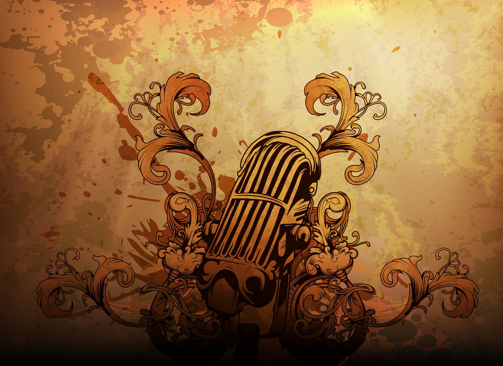 Vector Vintage Music Background With Microphone