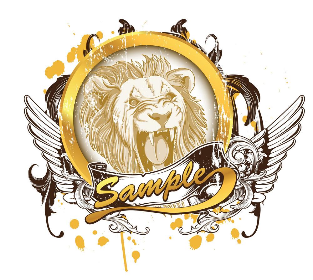 Vector Vintage T-shirt Design With Lion