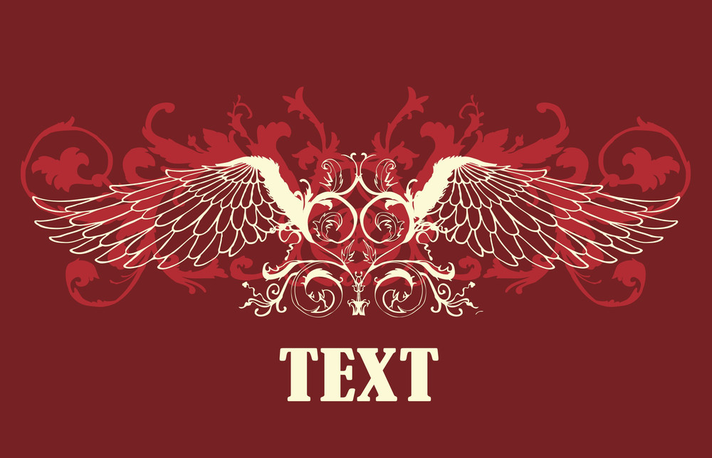 Vector Vintage T-shirt Design With Wings