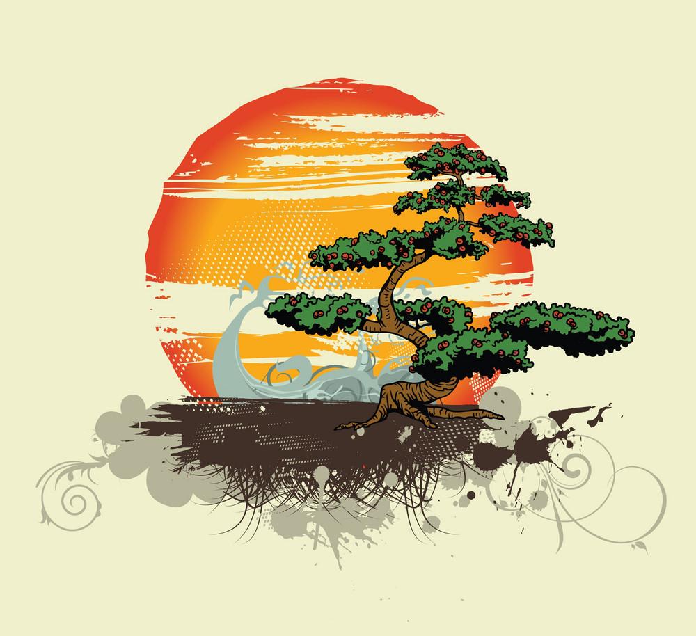 Vector Vintage Tshirt Design With Tree