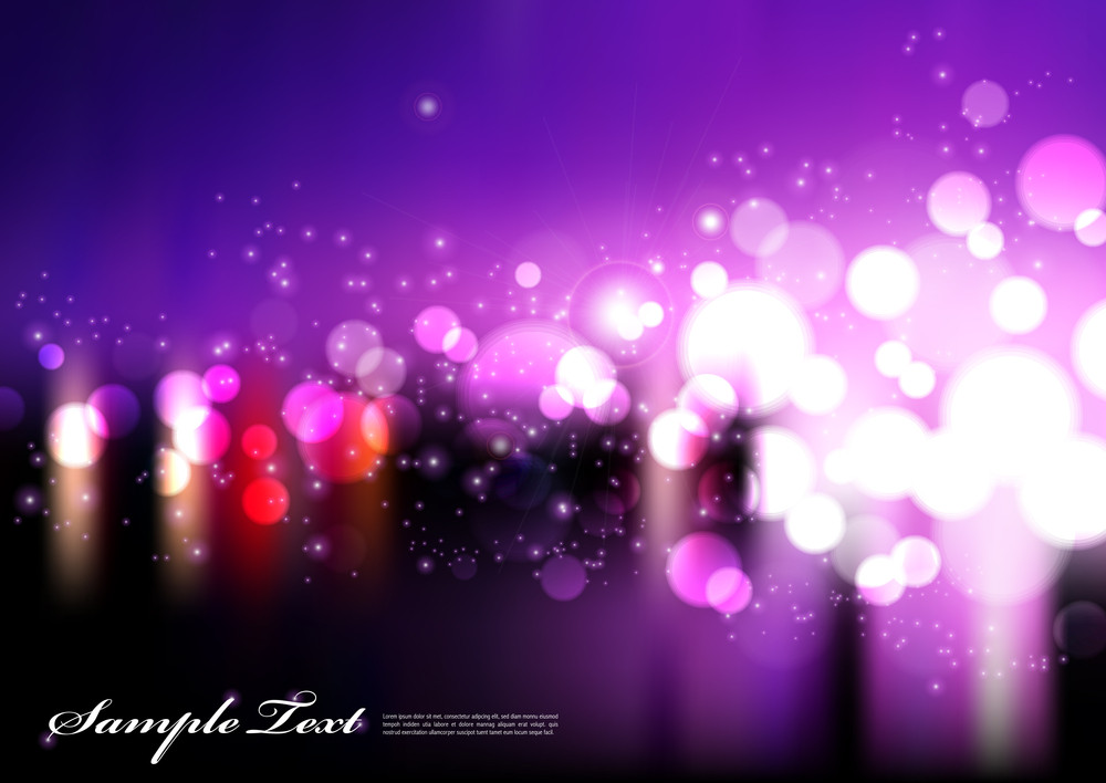 Vector Violet Blurry City Lights