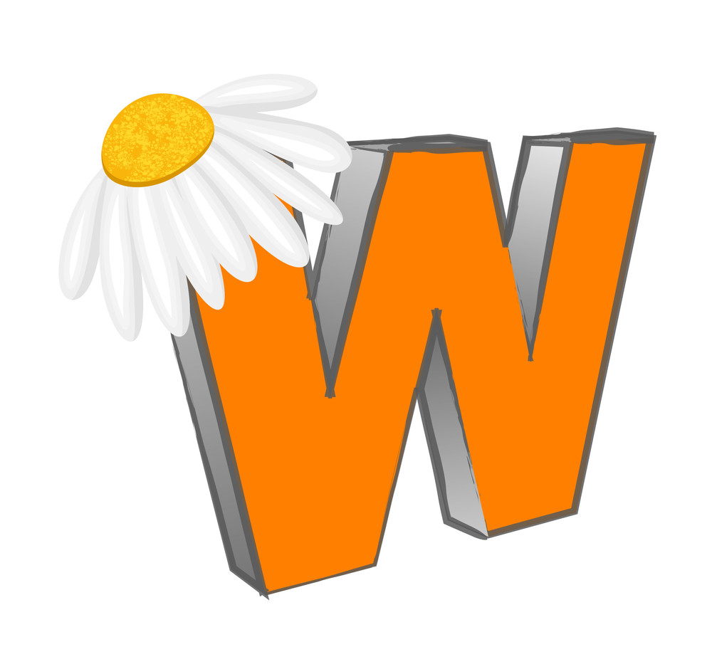 Vector W Alphabet With Flower