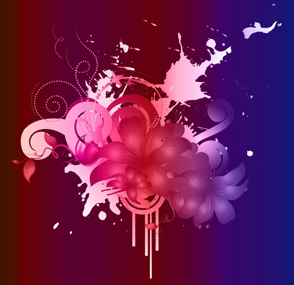 Vector Watercolor Floral With Splash