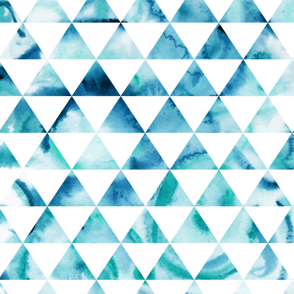 Vector Watercolor Triangles Pattern. Modern Hipster Pattern. Colorful Texture In Hipster Style. Geometry Template. Grunge Pattern.retro Triangle Background. Bright Pattern