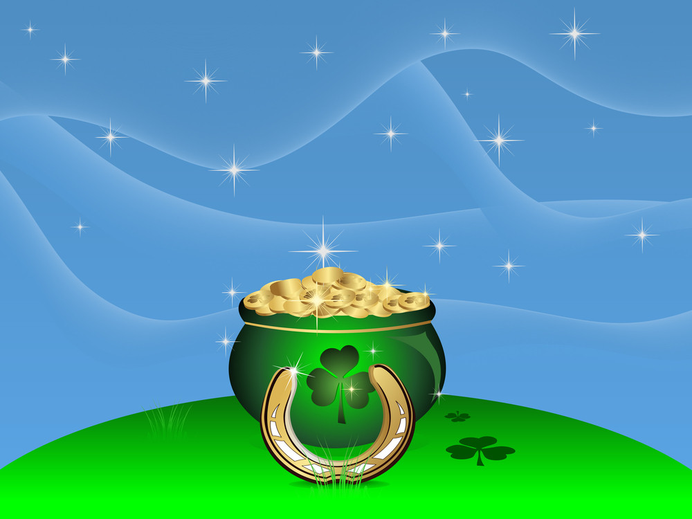 Vector Wave And Star  Background For St. Patrick's Day.