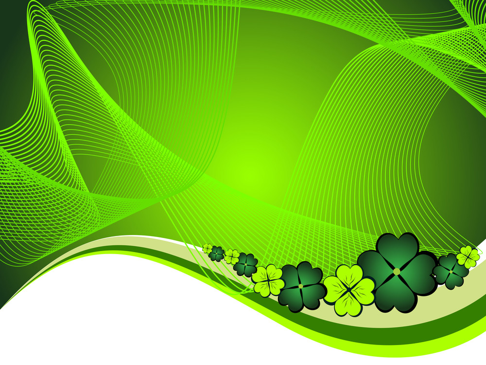 Vector Wave Background With Shamrock
