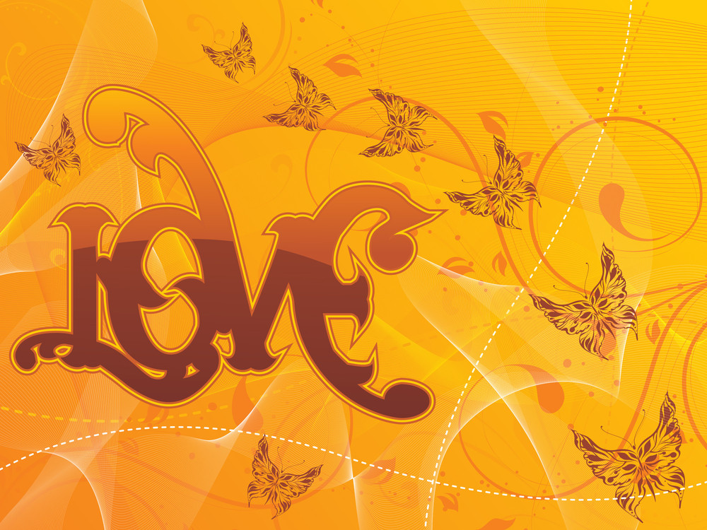 Vector Wavy Background With Butterfly
