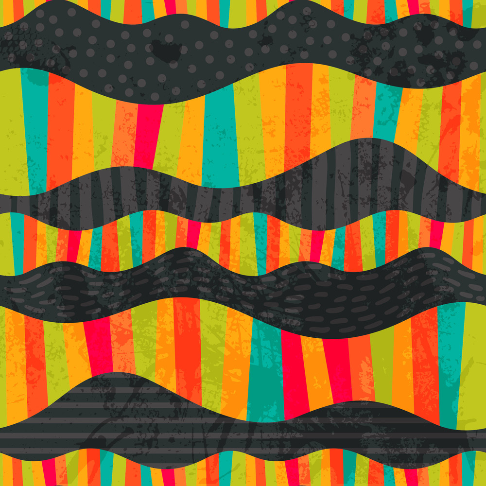 Vector Wavy Stripes. Mosaic Seamless Abstract Wave Background. Colorful Abstract Hand-drawn Pattern
