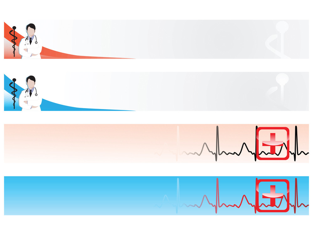 Vector Web 2.0 Banner With Medical Medical Sign Set 5